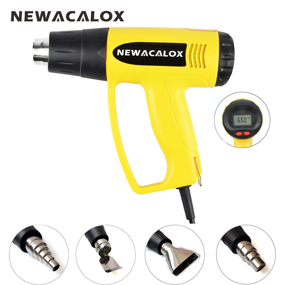 NEWACALOX LCD Afficher UE Plug 2000 w 220 v Industrielle Électrique Pistolet À Air Chaud Thermorégulateur Armes À Feu Thermorétractable Emballage Thermique chauffe-