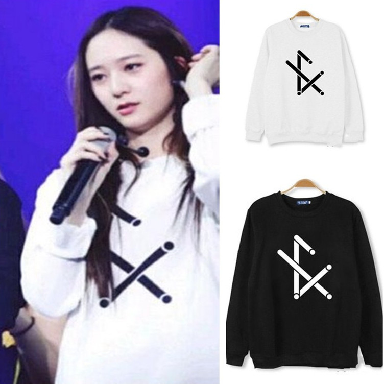 Kpop F (x) Victoria KRYSTAL Four Walls Round Neck Print Hoodies K-pop Unisex FX Autumn Outwear Long Sleeve Sweatshirts