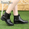 Goma Dedo Del Pie puntiagudo Zapatos de Las Mujeres Botas de Montaña Pasoataques Martins Tobillo Rainboots Impermeables Botas de Lluvia de Primavera Verano de la Marca