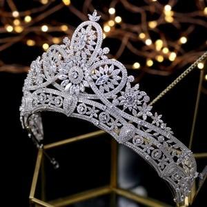 Image 5 - Splendido Da Sposa Corona Zircone Diademi di Cerimonia Nuziale di Cristallo Della Principessa Corone Wedding Accessori Per Capelli coroa de noiva