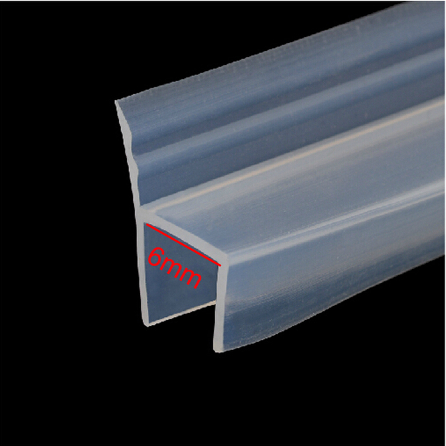 1 Meters H Shape Bath Shower Glass Door Window Silicone Rubber Seal Strip  Weatherstripping For 6mm