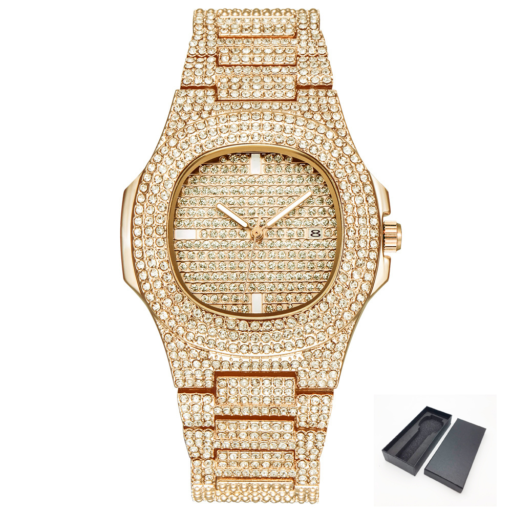 Diamond-Watch Band Gold-Tone Bling Men Women Mens Quartz For Hip-Hop Stainless-Steel