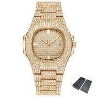 Роскошные часы с бриллиантами для мужчин и женщин, часы в стиле хип-хоп, мужские кварцевые часы, ремешок из нержавеющей стали, деловые наручн...