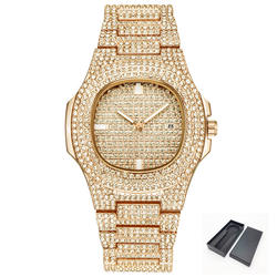 Золотой тон лед-выход Bling Diamond Часы для Для мужчин Для женщин хип-хоп Для мужчин s кварцевые часы Нержавеющаясталь группа Бизнес наручные