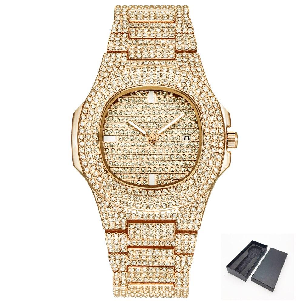 EIS-Out Bling Diamant Uhr Für Männer Frauen Hip Hop iced out uhr Männer Quarz Uhren Edelstahl Band business Armbanduhr Mann