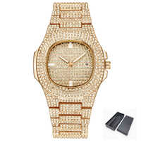 Gold Tone ICE-Out Bling Diamond Watch For Men Women Hip Hop Mens Quartz Watches Stainless Steel Band Business Wristwatch Man