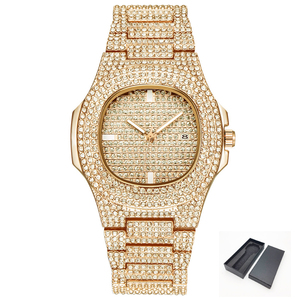 Gold Tone ICE-Out Bling Diamond Watch Fo