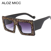 Aloz Micc Fashion Ladies Square Crystal Sunglasses Women Brand Designer Oversized Sun Glasses Female Vintage Shades Oculos Q23