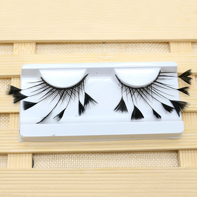 1 Pair Masquerade Stage Charming False Eyelash Art Artificial Feather Soft Makeup Party Fashion Exaggerated Tool Long Reusable 1