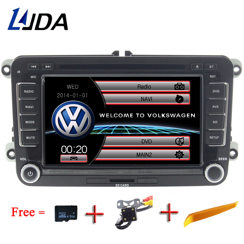 LJDA 2 Din 7 Inch Car DVD Player For VW Volkswagen Passat POLO GOLF Skoda Seat Leon GPS Navigaiton FM RDS Maps Radio 1080P USB