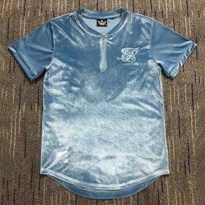Camisetas de verano Kanye West Sik de seda, ropa de terciopelo informal para hombre, Hip Hop, corte Irregular, cremallera, camisetas de manga corta, Azul, Blanco, marrón