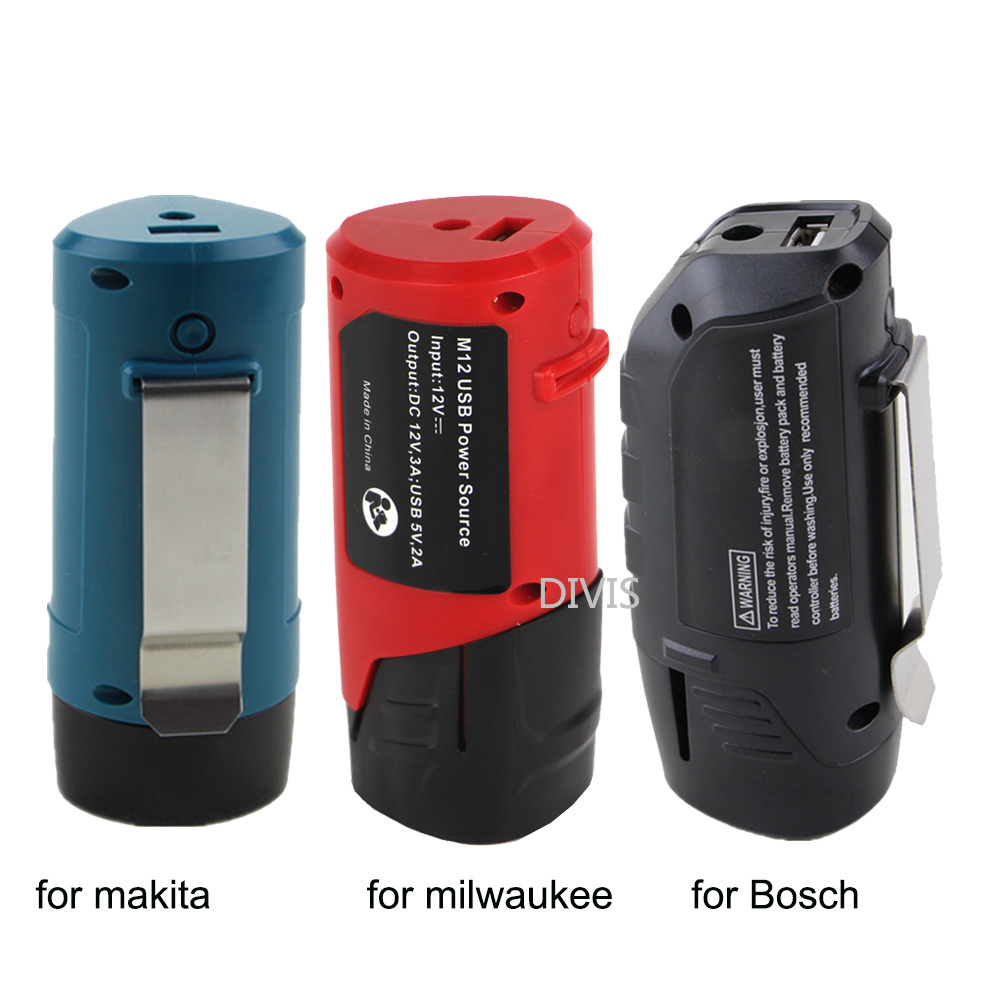USB <font><b>adapter</b></font> Charger for <font><b>Makita</b></font> Bosch Milwaukee <font><b>12V</b></font> 10.8V li-ion Power Tools Battery Power Bank to charger the cell phone ipad image