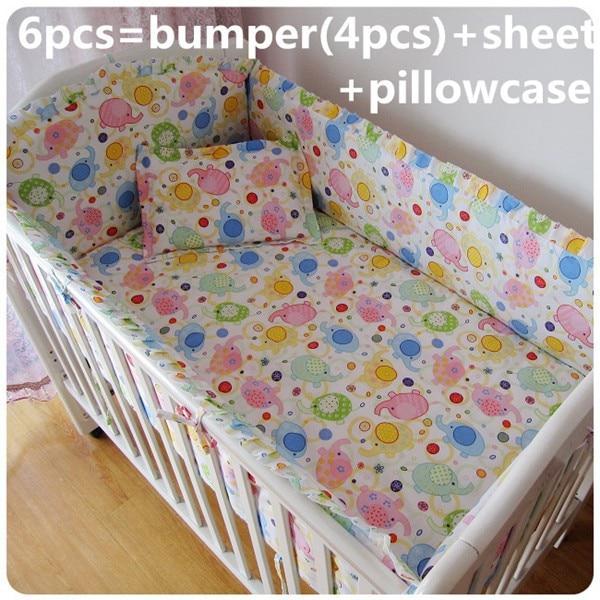 Promotion! 6PCS crib bedding set 100% cotton baby bedding piece set unpick and wash crib quilt cover (bumper+sheet+pillow cover) promotion 6pcs baby bedding piece set 100