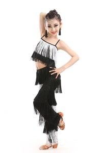Image 3 - Latin dans elbiseleri için satış balo salonu artı boyutu Fringe püskül takım elbise pantalonları pullu Fringe Salsa Samba kostüm çocuk çocuk kız