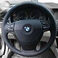 Caso Capa de Couro cobertura de Volante para BMW 523i 525i 320i Couro Genuíno DIY Carro-styling Volante Capas Pretas