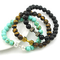 2016 Christmas Gift Women Bracelet Men Natural Stone Lava Rock Tiger Eye Turquoise Beads Bracelet Jewelry Good Quanlity AB1236A