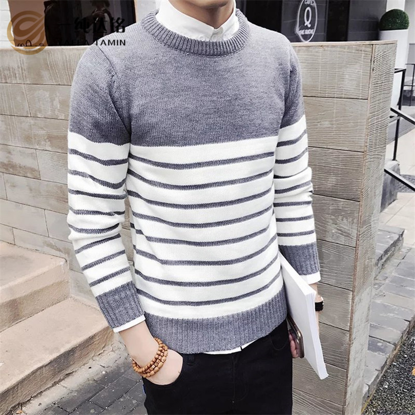 2017 Brand New Sweaters Men Fashion Style Autumn Winter Patchwork Knitted Quality Pullover Men O-Neck Casual Men Sweater XXL