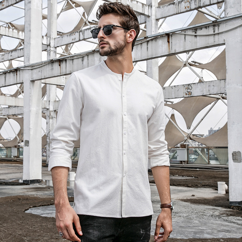 Men Shirt Autumn Brand Style Solid Color Casual Shirt Men Fa
