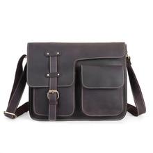 цена на Nesitu Vintage Brown Thick Durable Genuine Crazy Horse Leather Small Men Messenger Bags Man Shoulder Bag High Quality M1050