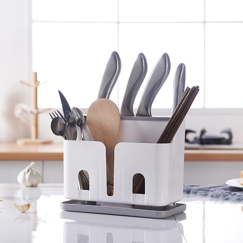 Fashion Multifunction Kitchen Knife Holder Block Plastic Knife Stand Chopsticks Shelf Storage Rack Organizing Universal Tool