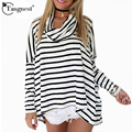 TANGNEST 2017 New Arrival Women Oversize Casual Draped Pile Collar Long Sleeve Stripe Loose T Shirt Camisetas Femininas WTL608