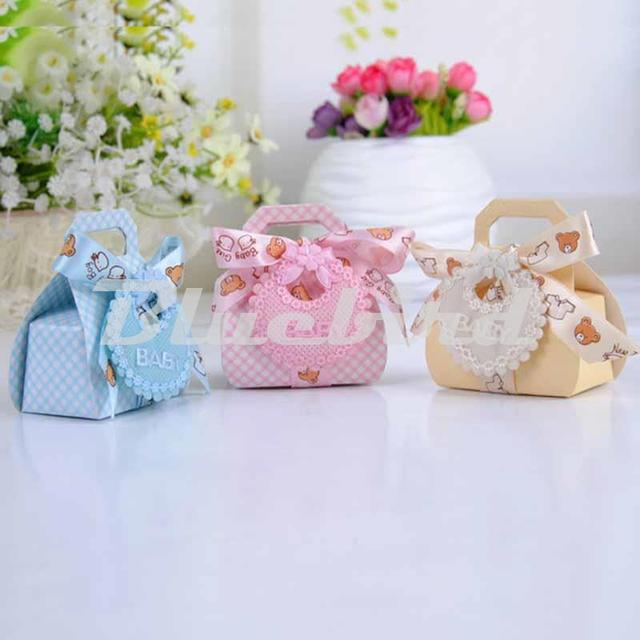 Hot Sale 12Pcs Baby Shower Favors Candy Box 3 Color Baby Shower Decorations Gift  Bags For
