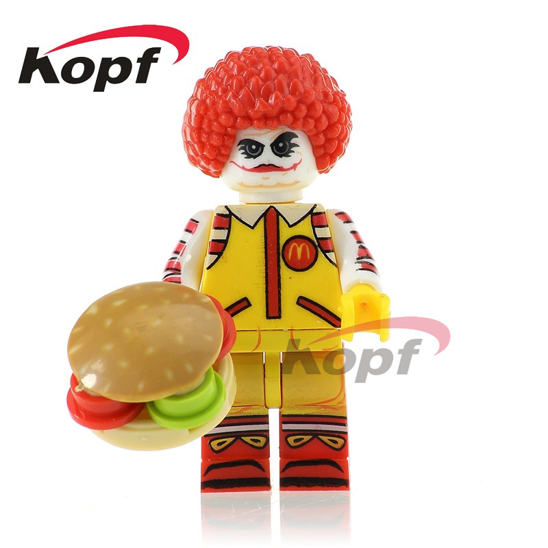 Single Sale Super Heroes Ronald McDonald with Joker's Face Classic Mr. Kentucky Dolls Building Blocks Toys for children PG348 building blocks super heroes back to the future doc brown and marty mcfly with skateboard wolverine toys for children gift kf197