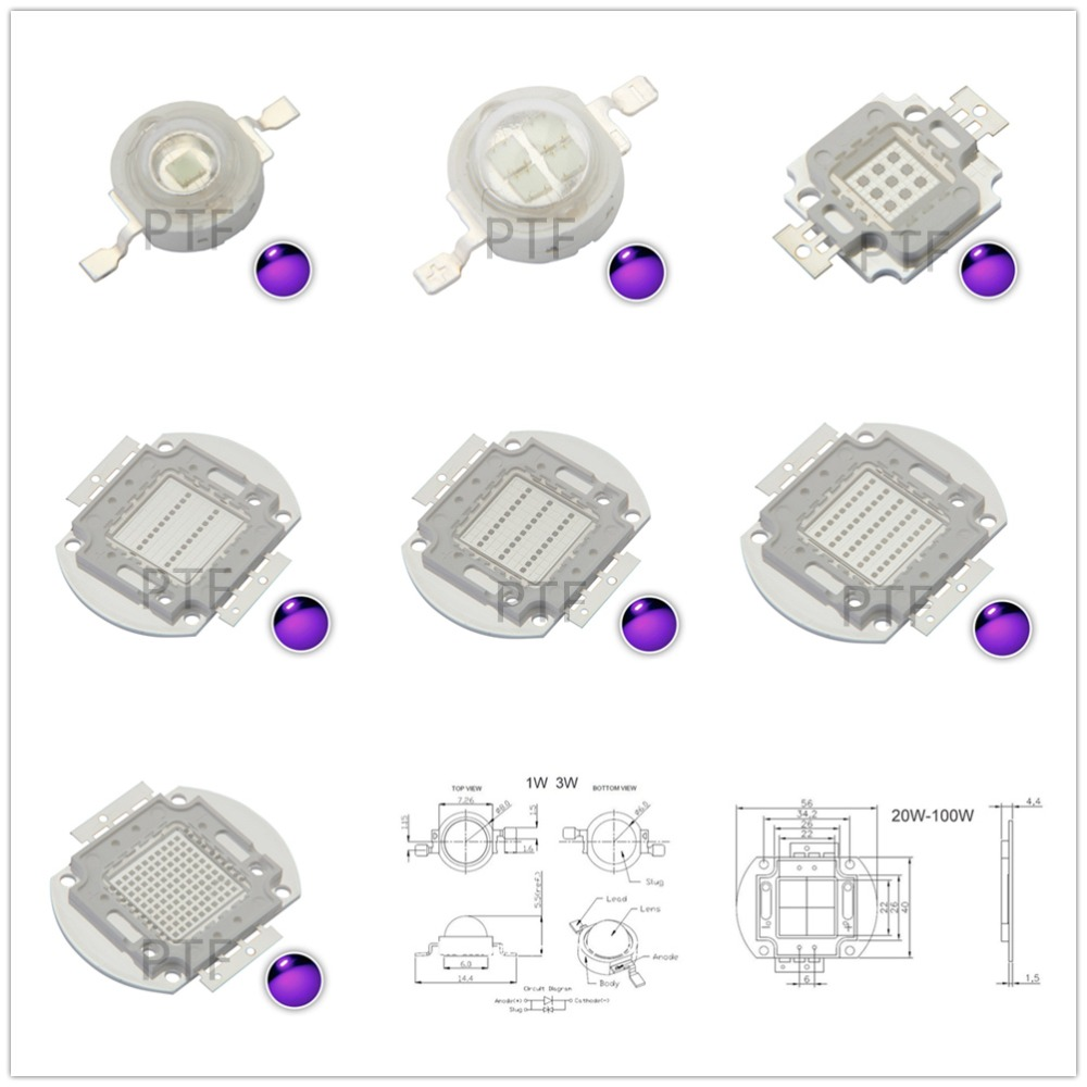 UV Purple LED Ultraviolet Bulbs Lamp Chips 365nm 375nm 380nm 385nm 395nm 400nm 405nm 3W 5W 10W 20W 30W 50W 100W High Power Light