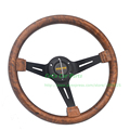 Brown Auto Steering Wheel Wood Look ABS Racing Car Steering Wheel 14 inch Diameter