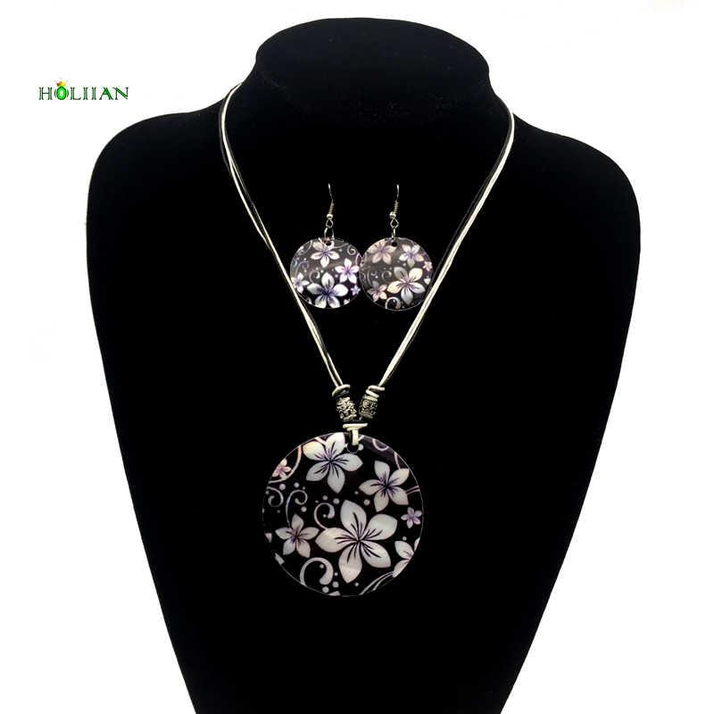 תכשיטים מגדיר Shell נשים עגולים שחור טבעי פרח עגיל סט שרשרת bijoux femme boho אתני רובי שרשרת חבל שעווה חדש