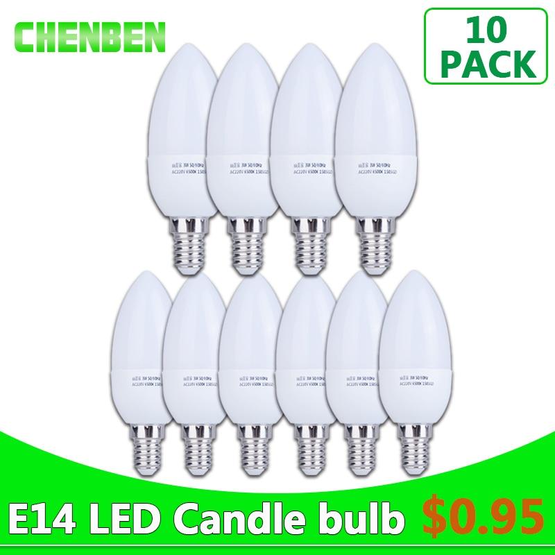10pcs LED Bulb E14 220V Candle light Energy Saving Lamp 3W 5W Bombilla Led Bulbs Lampada Chandelier LEDs for Decoration White led gold deco chandelier bulbs candle light e14 85 265v 5w lamps