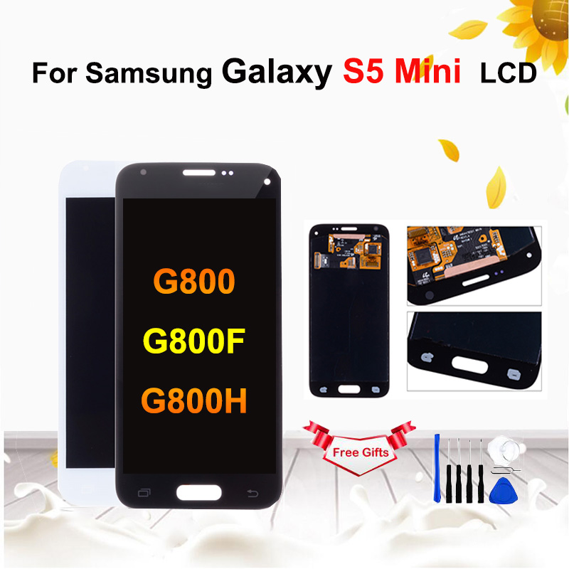 <font><b>Super</b></font> <font><b>AMOLED</b></font> LCD For <font><b>Samsung</b></font> Galaxy <font><b>S5</b></font> Mini G800 G800F G800H LCD <font><b>Display</b></font> Touch Screen Digitizer Assembly Replacement with tools image