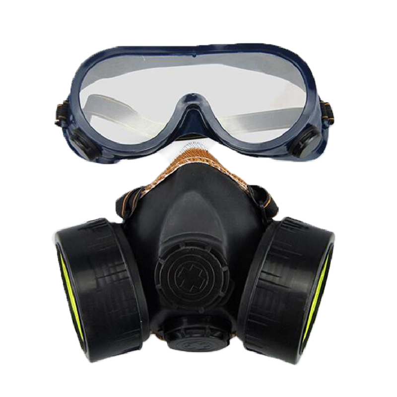 Carbon Filter Dual Gas Mask Anti Dust Paint Respirator Building Welding Chemical Industrial Face Mask With Goggles Safety Breath