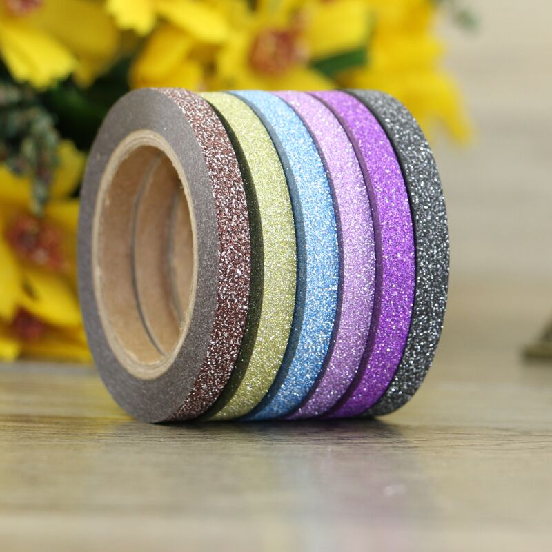 6 colors / Set Solid Glitter Tape Set 5mm x 6.5m Scrapbooking Tools Kawaii Decorative Masking Washi Tape Paper Stationery Tape