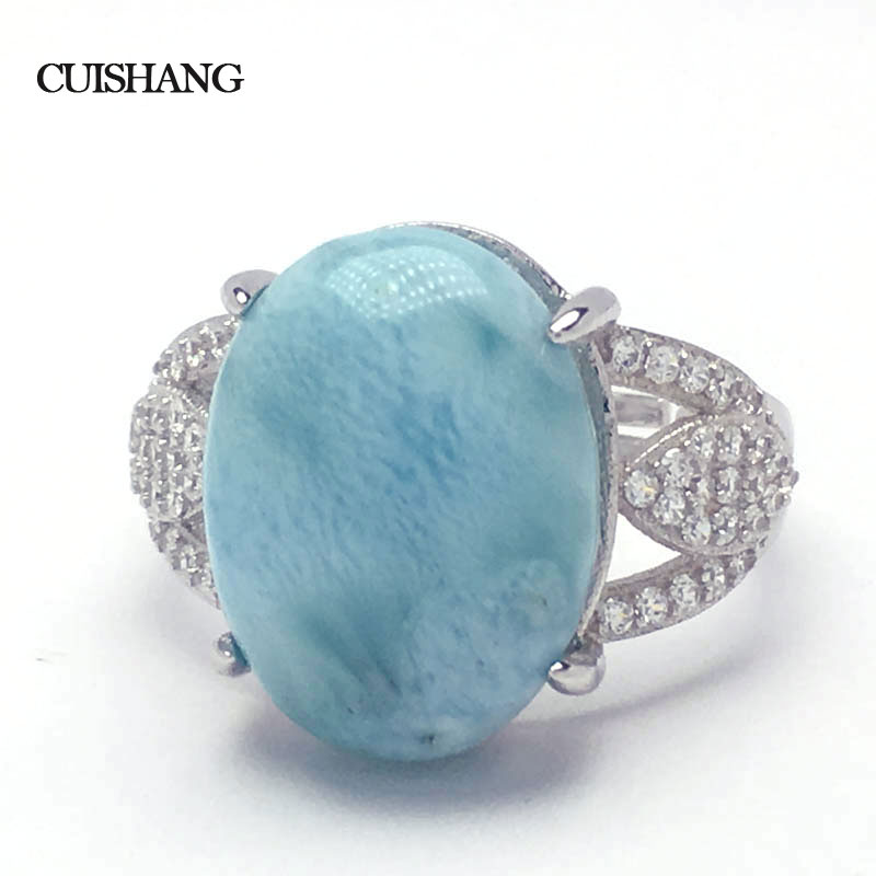 CSJ Larimar Ring 12*16MM Sterling 925 Silver Fine Jewelry for Women and Lady Wedding Engagement Party Gift in box : 91lifestyle