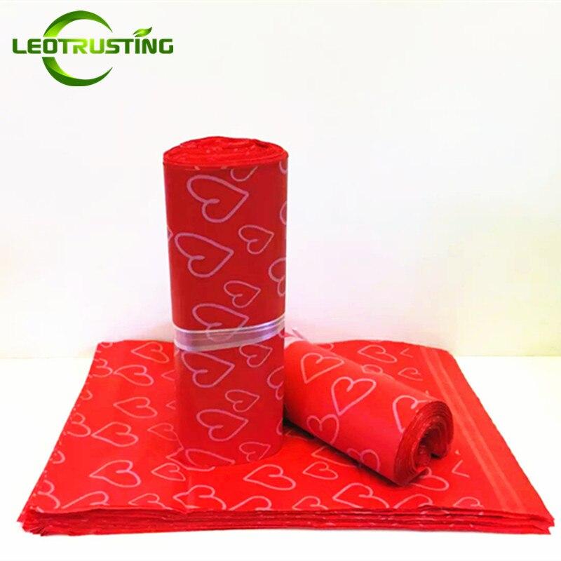 Leotrusting Rot Herz Poly Mailing Express Tasche Starken Klebstoff Verpackung Umschlag Tasche Mailer Kunststoff Geschenk Boxen Verschiffen Tasche