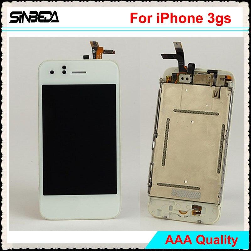 Sinbeda Marque Nouvel Écran Lcd Pour iPhone 3GS Écran Tactile Digitizer Assemblée Avec Bouton et Appareil-Photo Avant Blanc/noir
