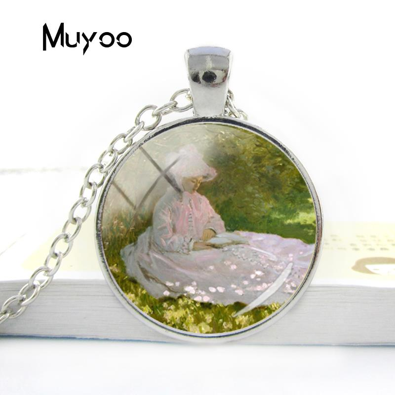 2018 New Design The Women Reading Necklace Claude Monet Leisurely ldyllic Drawing Neckla ...