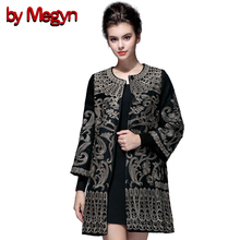 by Megyn 2017 Autumn Winter O-Neck Full Sleeve Embroidered Women Winter Coat Muslim Style Overcoat Jacket Plus Size XXXL D062