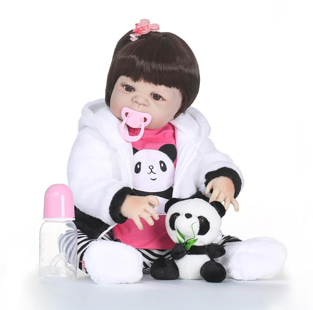 55cm Full Silicone Vinyl Reborn Girl Baby Doll Toys With Panda 22inch Newborn Bebe Princess Babies Alive Bath Toy Play House Toy55cm Full Silicone Vinyl Reborn Girl Baby Doll Toys With Panda 22inch Newborn Bebe Princess Babies Alive Bath Toy Play House Toy