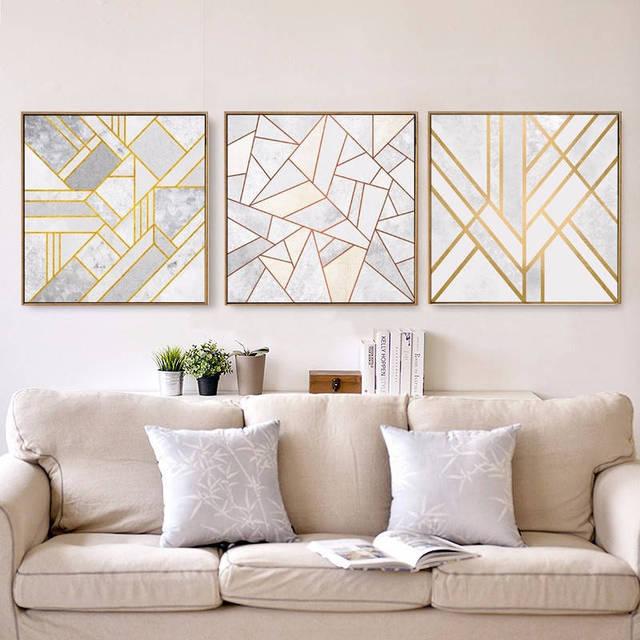 Nordic Minimalistische Gold Geometrie Abstrakte Leinwand Malerei Kein  Rahmen Wandbilder Für Wohnzimmer Dekoration Malerei Wohnkultur