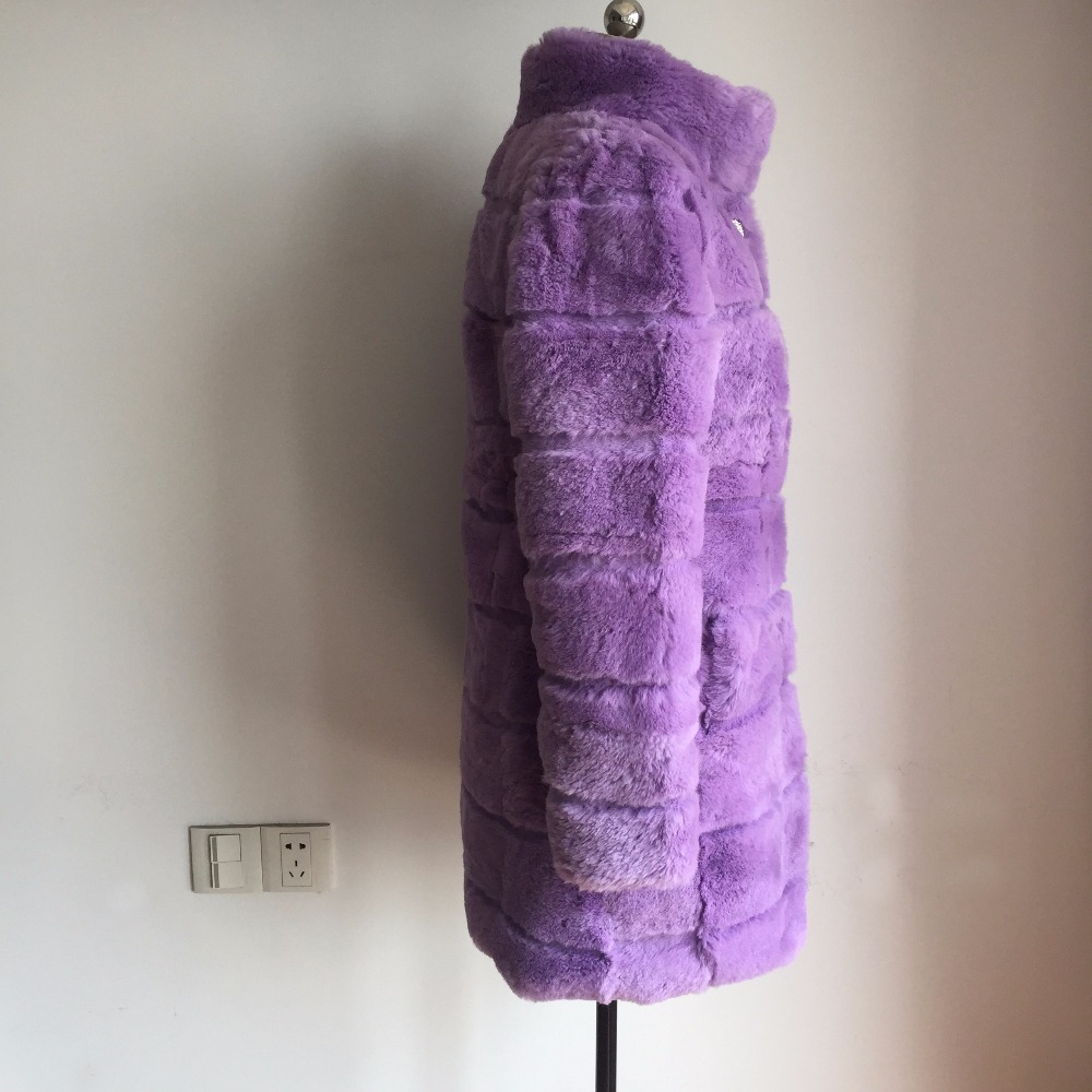 Personnaliser Sr202 Naturel Pleine Manteau Grande Purple Réel grey Couleur Pardessus Cisaillé Et La Pelt Plus Mode beige 2018 black Taille De khaki Fourrure Lapin Nouvelle qCxHW7EFw