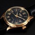 Lujo Negocios Relojes Hombres Mismo-viento Automático Reloj Mecánico de Los Hombres de Moda Banda de Cuero Vestido Reloj Hombre Relogio masculino