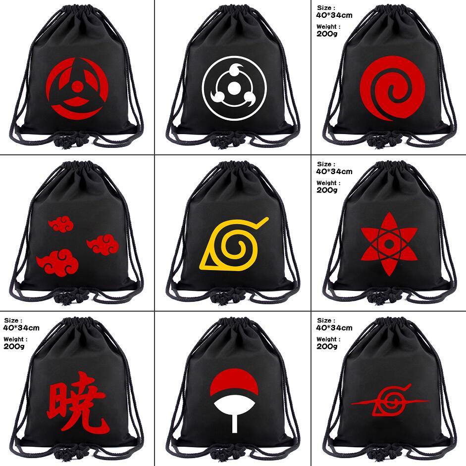 Anime Naruto Canvas Drawstring Bag Uchiha Sharingan Backpack Women Fashion Cosmetic Container Casual Beach Bag Shoes Pouch Otaku