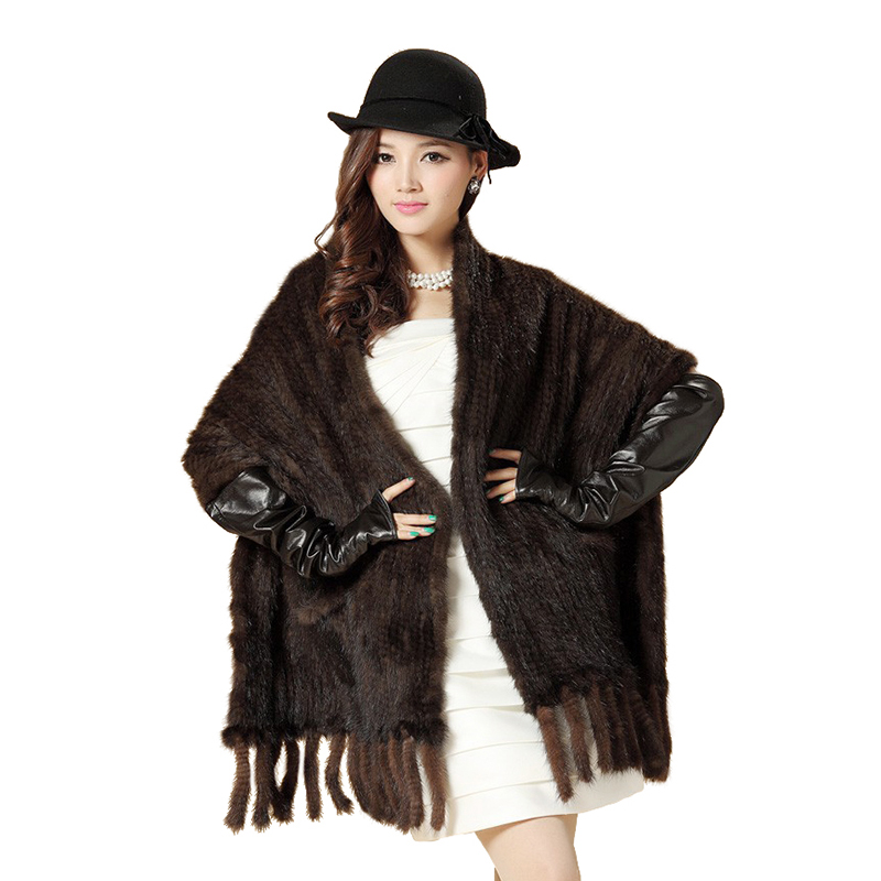 Capa de visón de piel de visón de punto borla grande capa bufanda de piel de visón negro chal con bolsillo y flecos bufanda de piel envío gratis EMS