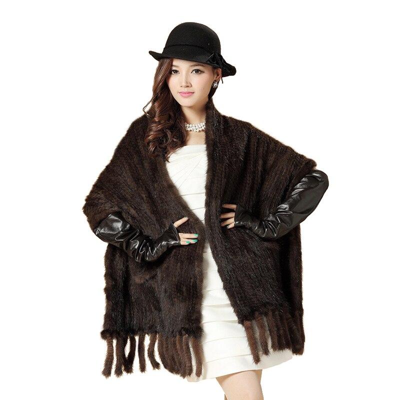 Vison cape de fourrure vison tricoté gland grande cape écharpe de vison Noir fourrure châle avec poche et franges écharpe De Fourrure Livraison Gratuite EMS