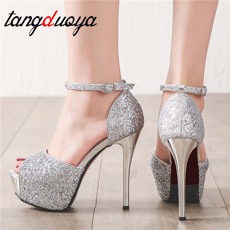 Platform High Heels 14cm Shoes Woman Pumps Black Women Sandals Party Shoes Female Wedding Shoes Peep Toe Pumps Sapato feminino basic pump