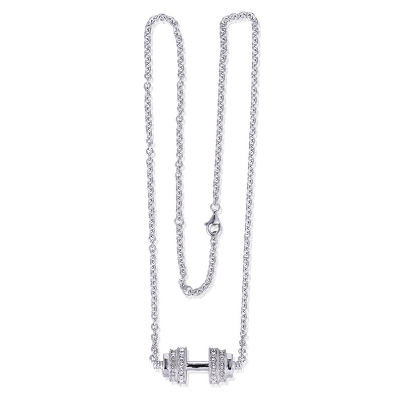 Crystal Fitness Weightlifting Necklace Jewelry 925 sterling silver Sports jewelry fits for men women GW Jewelry