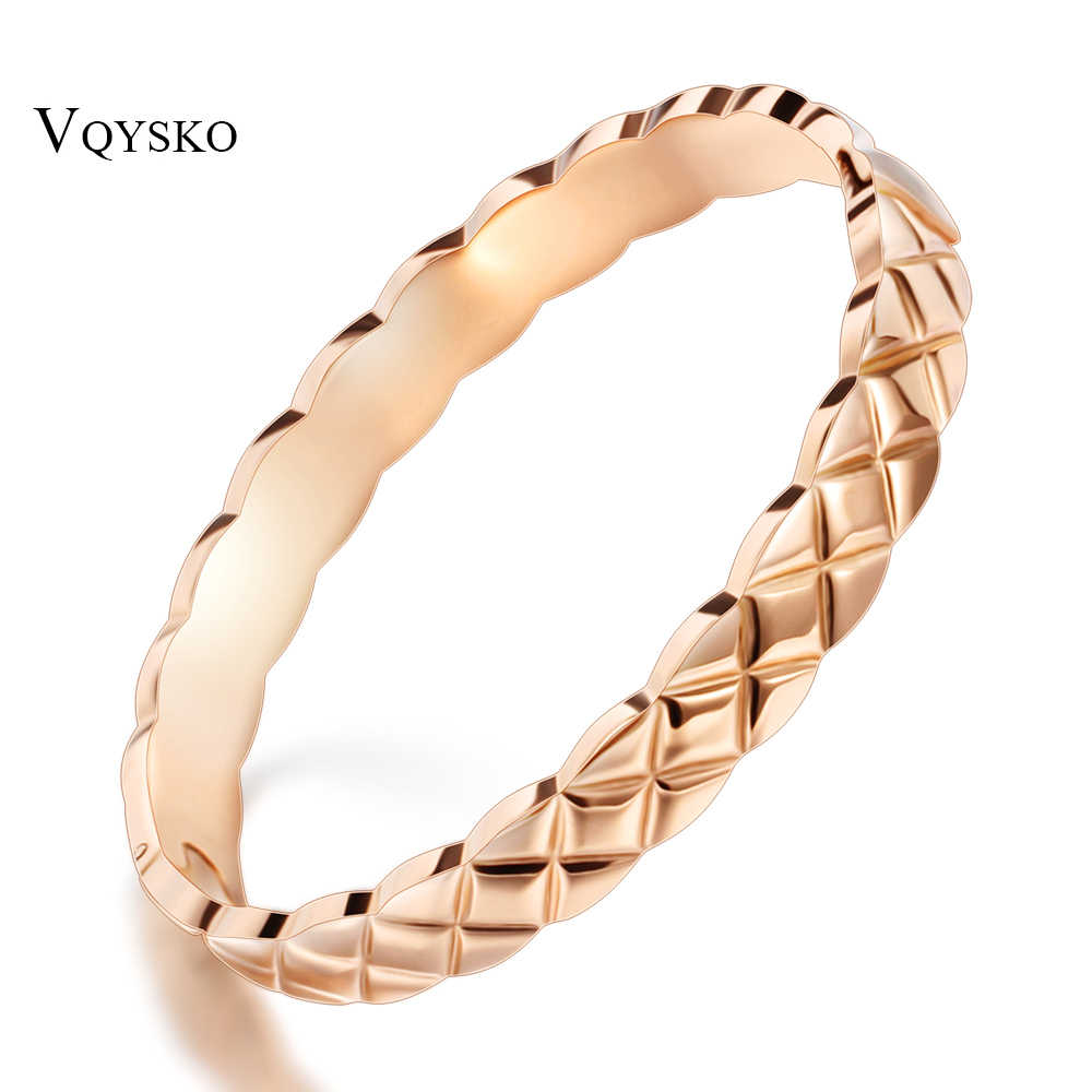 New Design Rose Gold Pattern Titanium Stainless Steel Bangles Fashion Jewelry Bracelet Bangle For Women