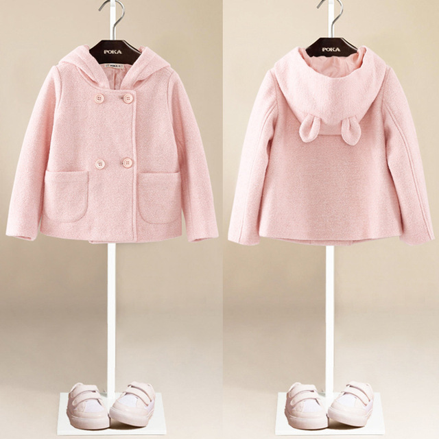YNB Brand Kids Girls Winter Clothes Children Girl Double-breasted Wool Coat with Rabbit Ear Hat Children's Pink Wollen Coat